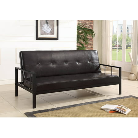 Lamas Black Faux Leather Klik Klak Sofa Futon Sleeper Bed With Adjule Back Heavy Duty