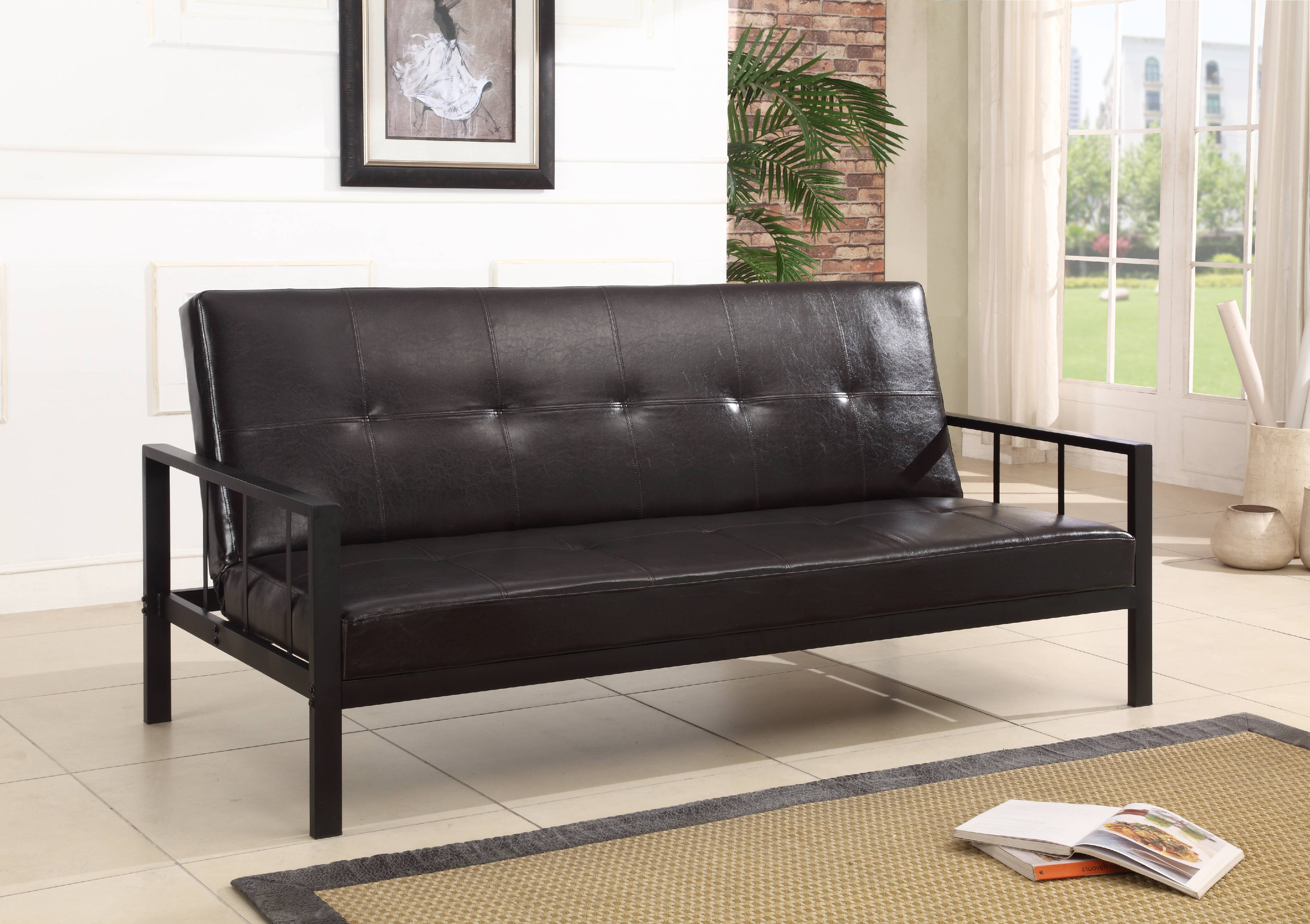 Lamas Black Faux Leather Klik Klak Sofa Futon Sleeper Bed With Adjustable  Back (Heavy Duty