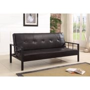 Lamas Black Faux Leather Klik Klak Sofa Futon Sleeper Bed With Adjule Back Heavy Duty