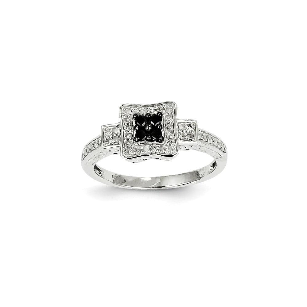 14K White Gold White & Black Diamond Square Ring. Carat Wt- 0.25ct