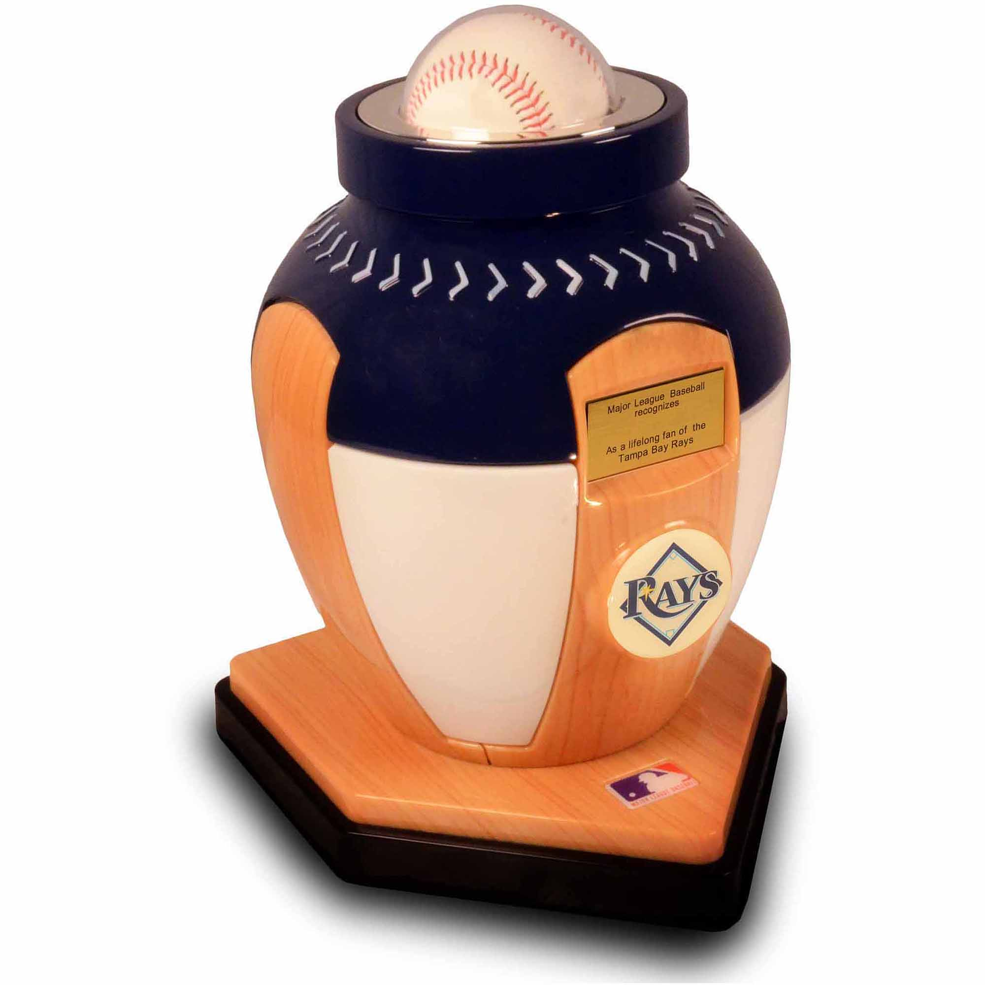 Official Major League Baseball Cremation Urn for Human Ashes - Tampa Bay Devil Rays