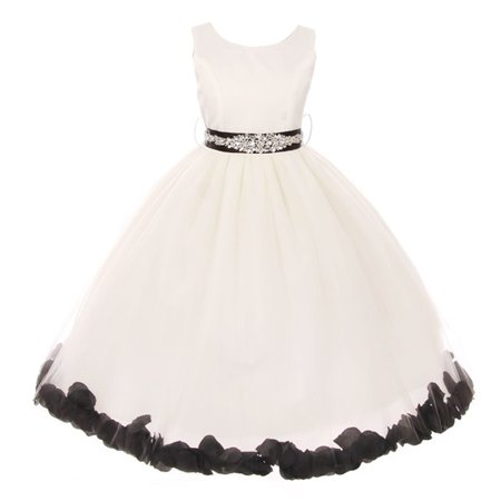 Girls White Black Sash Petal Jewel Embellished Junior Bridesmaid