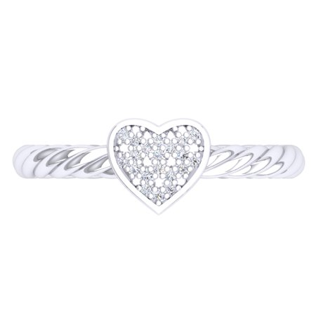 Dazzlingrock Collection 0.06 Carat (Ctw) Sterling Silver Round White Diamond Ladies Bridal Heart Shaped Promise Ring, Size 7 - Heart Shaped Bridal Set