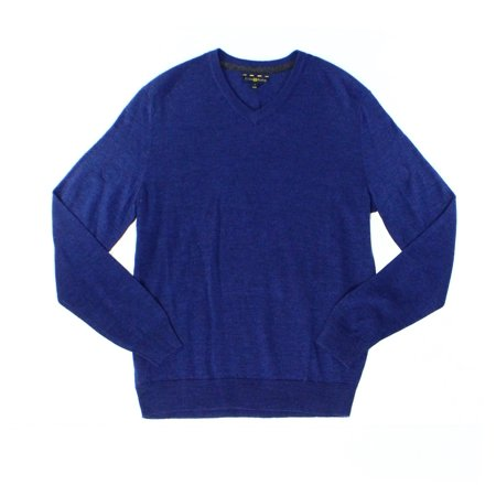 Club Room NEW Heather Blue Mens Size 2XL Knit V-Neck Wool - Mens V-neck Wool Sweater