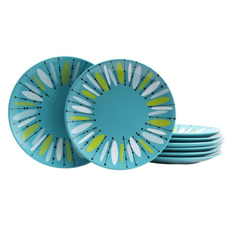 Studio California Anza 8 Piece 10.5 Inch Dinner Plate Set in Turquoise