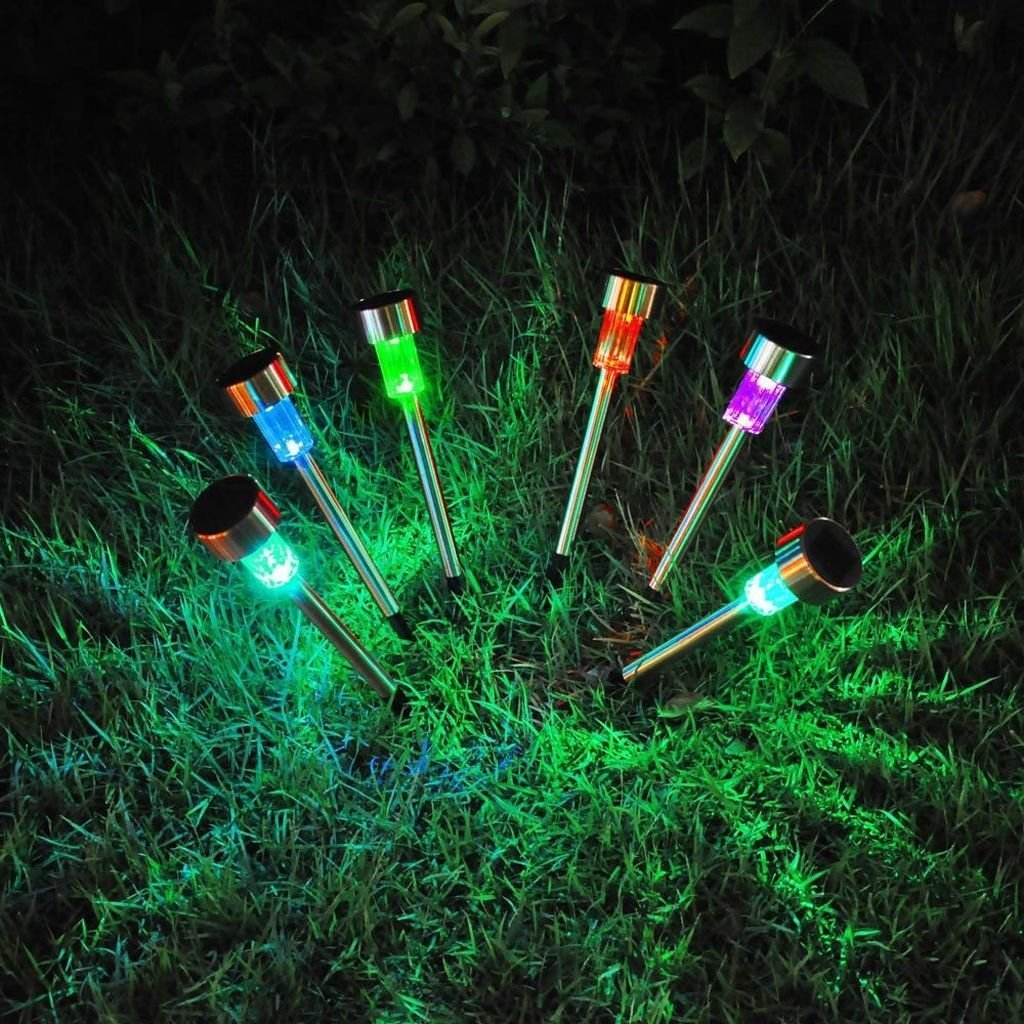 EpicGadget(TM) 5pcs Pack Color Changing (RGB) Stainless Steel Solar Path Lights for Outdoor Landscape Lighting. Solar Pathway Lights for Lawn, Patio, Yard, Walkway, Driveway, and Garden Landscape