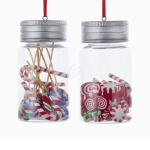 1 Set 2 Assorted Candy Jar Peppermints and Assorted Candy Christmas Ornaments