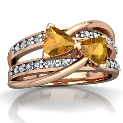 Citrine Bowtie Ring in 14K Rose Gold by
