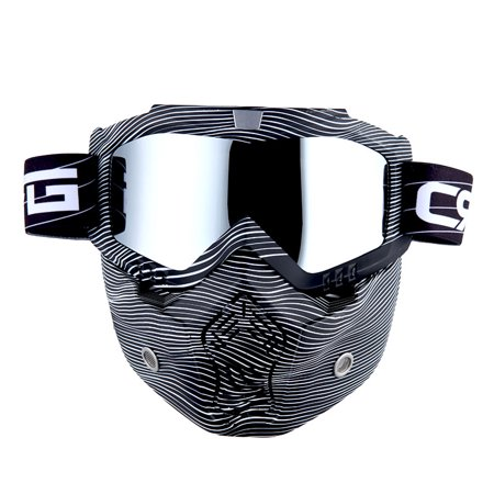 Motorcycle Goggles Mask, Detachable for Motocross Helmet Goggles use, Tactical Airsoft Goggles Mask: Stripe White with Tinted Lens ()
