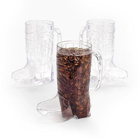 Clear Plastic Cowboy Boot Mugs (1 dz)