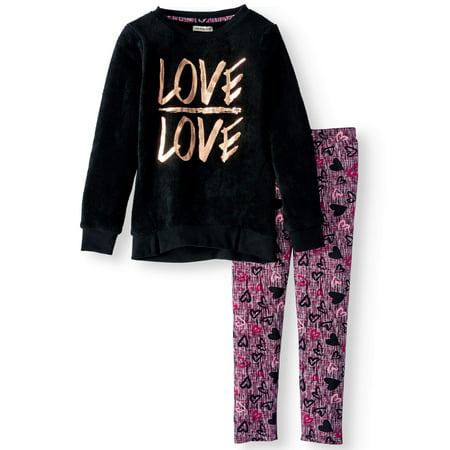 Fuzzy Graphic Tunic & Printed Legging, 2-Piece Outfit Set (Little Girls & Big Girls)