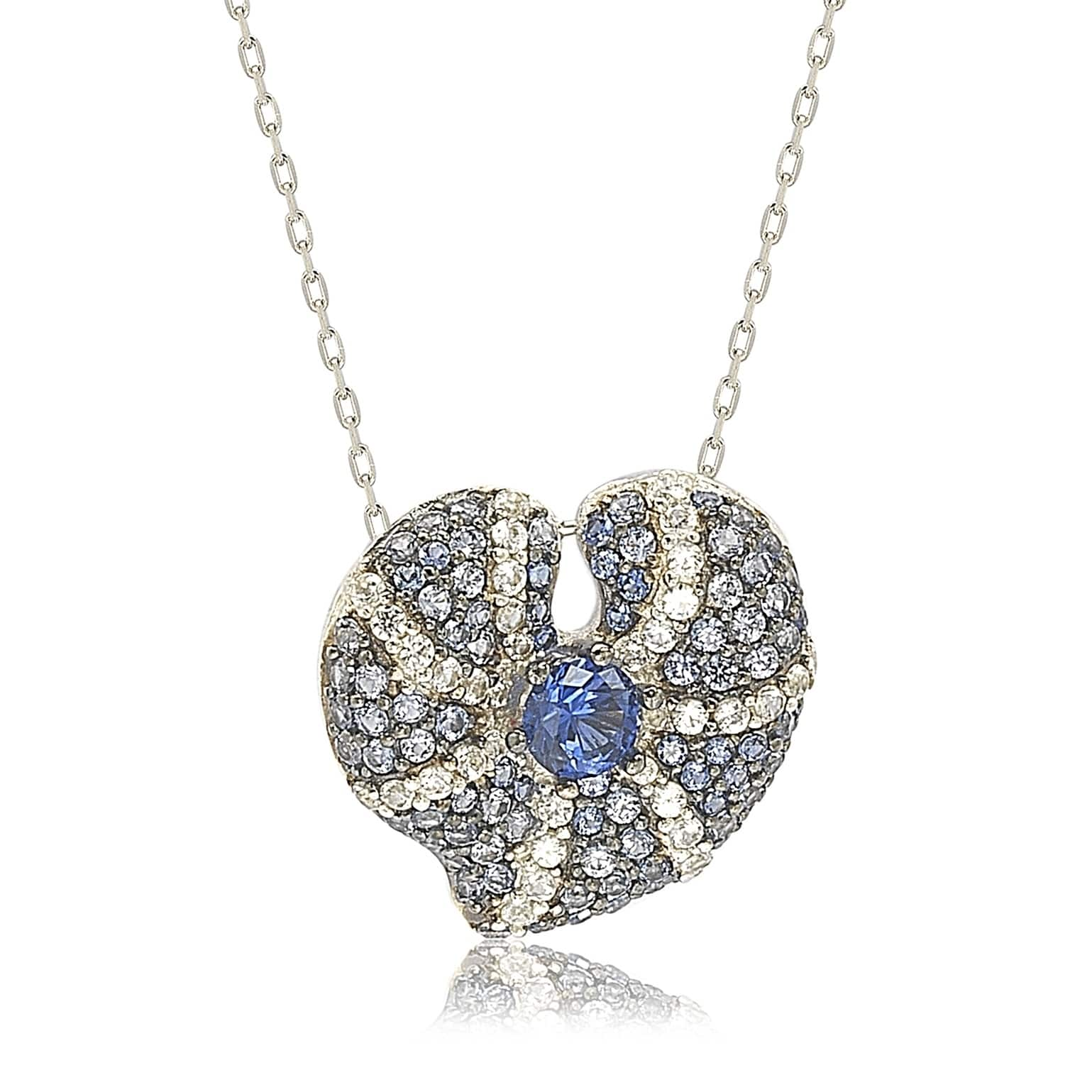Suzy Levian Sterling Silver Sapphire and Diamond Accent Whimsical Heart Pendant Necklace