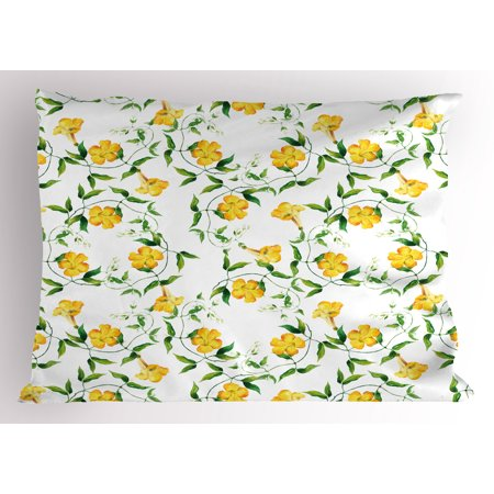 Yellow Flower Pillow Sham Romantic Botanical Theme Bindweed Florets Shabby Design in Watercolors, Decorative Standard King Size Printed Pillowcase, 36 X 20 Inches, Yellow Jade Green, by - King Jaffe
