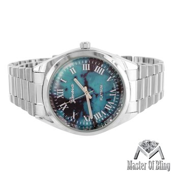 Turquoise Black Dial Watch Female MK Style Classic White Gold Tone Water Resist