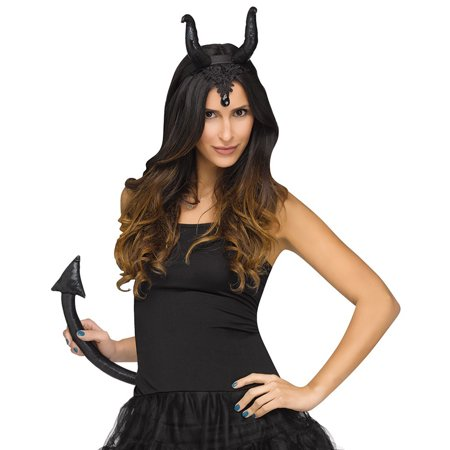 Fun World Halloween Sexy Horned Queen Ears & Tail 2pc Accessory Kit, Black - Halloween Black Horns