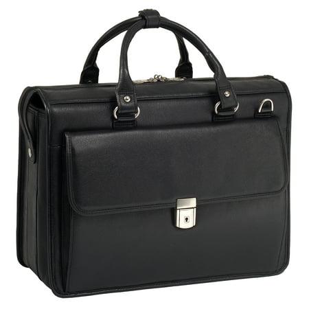 McKlein GRESHAM, Litigator Laptop Briefcase, Pebble Grain Calfskin Leather, Black (15975) - Leather Litigator Laptop Brief