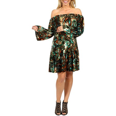 24/7 Comfort Apparel Peacock Maternity Party Dress with Drop Waist Style