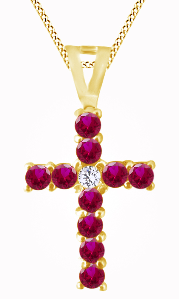 Round Cut Simulated Pink Ruby & White Natural Diamond Cross Pendant Necklace In 14k Solid White Gold by Jewel Zone US