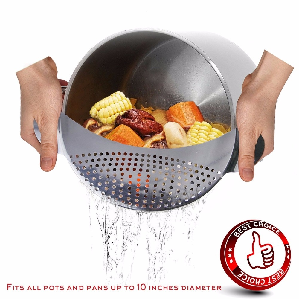 Click here to buy Pot Strainer Stainless Steel Basket Fruits Vegetables Drain Storage Basket?Silver.