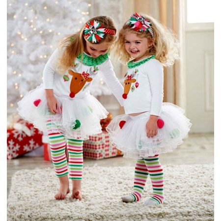 New Baby Girls Christmas Costume Reindeer Top Tutu Tulle Skirt Pants Outfits Set](Baby Christmas Reindeer Outfit)
