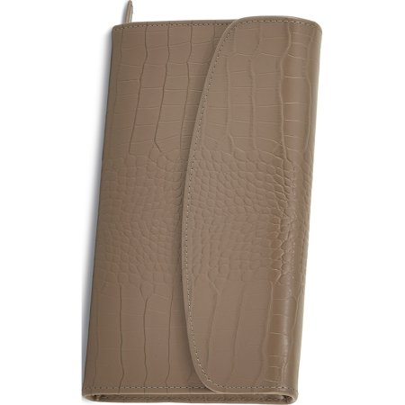 Taupe Leather Croco Jewelry Clutch W/Snap Closure Designer Jewelry by Sweet Pea