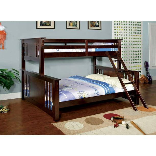 Furniture Of America Spring Twin Over Queen Bunk Bed Dark Walnut Walmart Com Walmart Com
