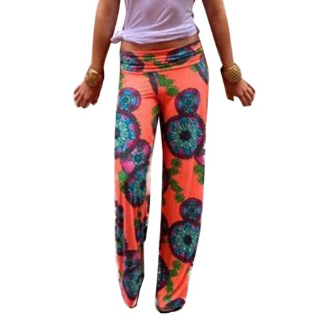 - Womens Floral Boho Harem Wide Leg Long Pants Palazzo Trousers Yoga Trousers