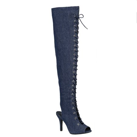 0352347fb2 SNJ - Women's Thigh High Fashion Sexy Lace Up Over The Knee Party Stretch  Peep Open Toe Heel Boots (FREE SHIPPING) - Walmart.com