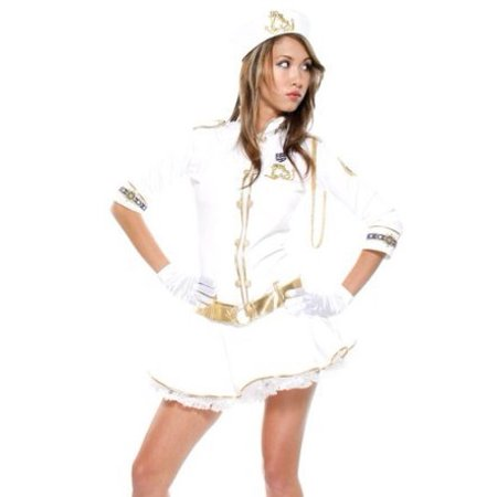 Sexy Adult Womens Halloween Costumes Naughty White Gold Trim Sailor Girl Navy Cadet Dress Costume Theme Party Outfit