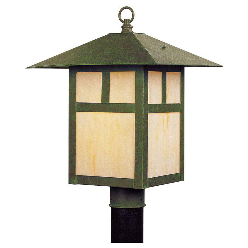 Livex Montclair Mission 2140-16 Outdoor Post Lantern - 18H in. Verde Patina