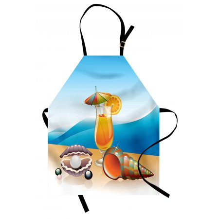 Pearls Apron Seashells and Glass of Orange Juice with Seascape Summer Beach Cartoon Art, Unisex Kitchen Bib Apron with Adjustable Neck for Cooking Baking Gardening, Blue Orange Purple, by