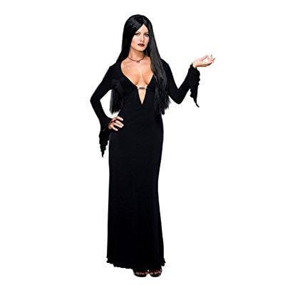 addams family morticia addams costume and wig, black, - Family Costume