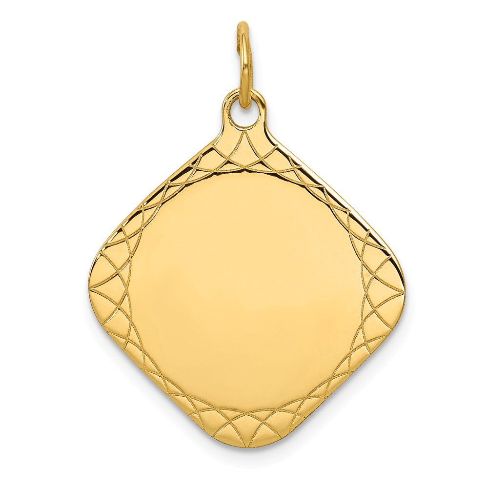 14k Yellow Gold Patterned 0.018 Gauge Diamond-Shaped Engravable Disc Charm (1.1in long x 0.8in wide)
