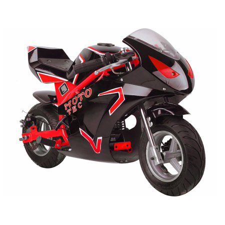 MotoTec 49cc 2-Stroke Gas Powered Pocket Bike Mini Motorcycle GT Red ()
