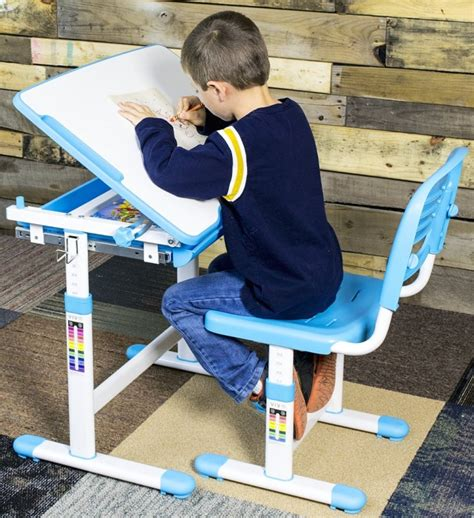 Children Desk Kids Study Child School Adjustable Height Children's Table Chair Set with Storage Perfect Gift For Kids-Blue