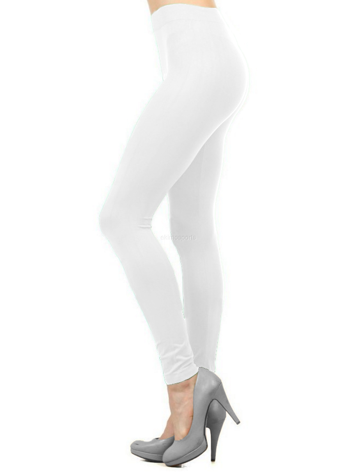 Women Seamless Basic Full Length Legging Stretch ankle Tights Pants - White