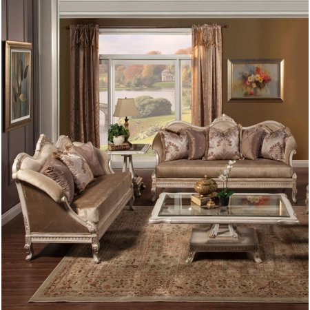 Benetti S Perla Golden Pearl Chenille Silver Gold Frame Sofa Set 2 Special Order