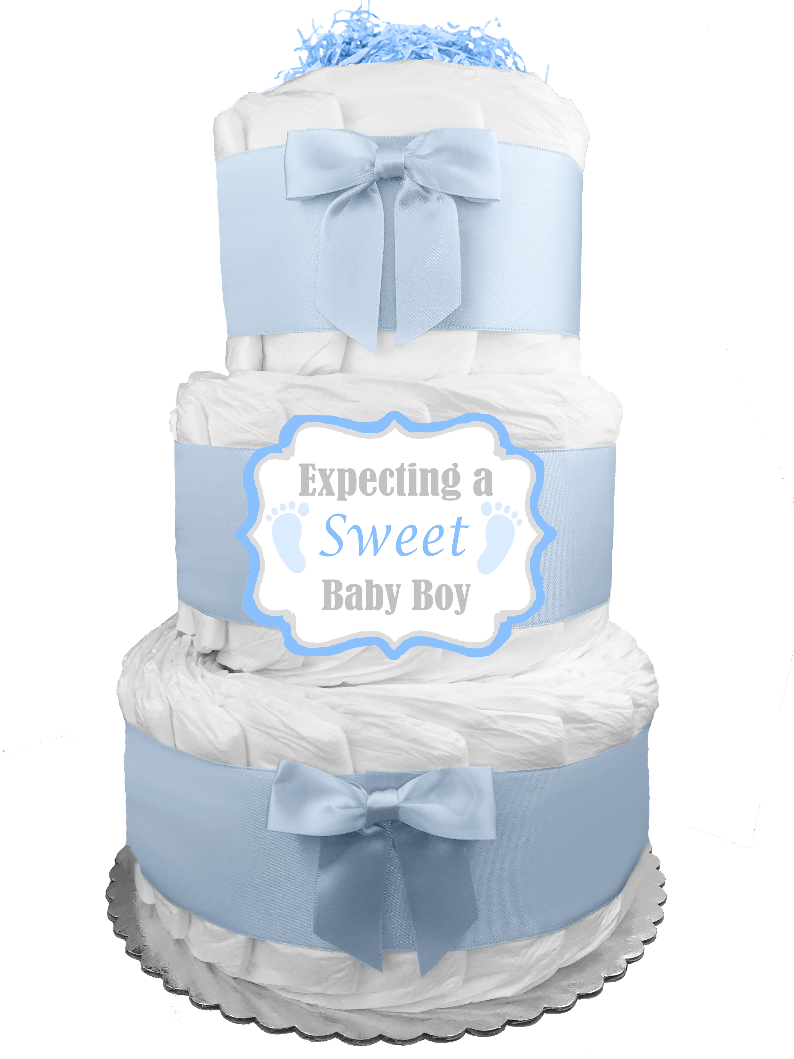 Purple White and Lace Diaper Cake Beautiful Bassinet Carriage Baby Shower Gift