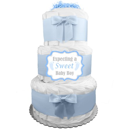 Sweet Baby Boy Diaper Cake - Baby Shower Gift Idea for a Boy - Newborn Gift - 62 size 1 Diapers included - Blue