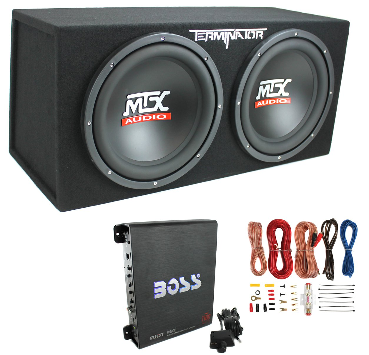 """MTX TNE212D 12"""" 1200W Dual Loaded Car Subwoofers with Box Enclosure Boss Package"""