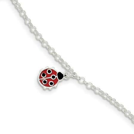 Childrens Enamel Ladybug - Roy Rose Jewelry Sterling Silver Polished Childrens Enameled Ladybug Bracelet 6'' length