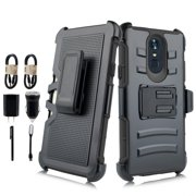 """~ Value Pack ~ With Cable Charger for 5.7"""" LG Stylo 4 Phone Case Belt Clip Holster Kicktands Hybrid 2 Layer Armor Shock Bumper Hard Cover Black"""