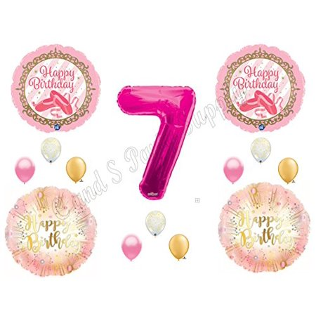 BALLERINA Twinkle Toes Gold Pink 7TH Birthday Party Balloons Decoration Supplies Seventh](Ballerina Decorations)