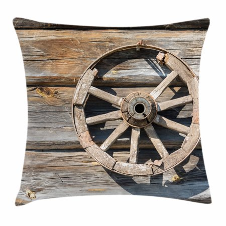 Barn Throw Pillow (Barn Wood Wagon Wheel Throw Pillow Cushion Cover, Old Log Wall with Cartwheel Telega Rural Countryside Themed Image, Decorative Square Accent Pillow Case, 18 X 18 Inches, Umber Beige, by)