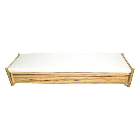 Bamboo54 Baroque Bamboo Flat Lounger Bench with Sunbrella Cushion Bamboo 54 Natural Bamboo