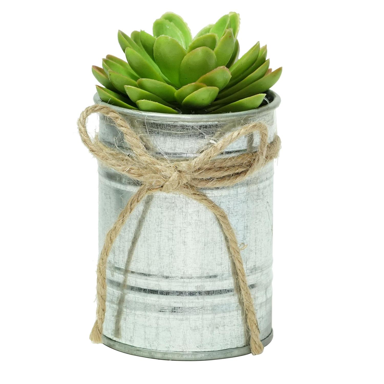 """7"""" Lime Green Mini Artificial Sprouting Rose Succulent in Tin Planter with Twine Bow"""