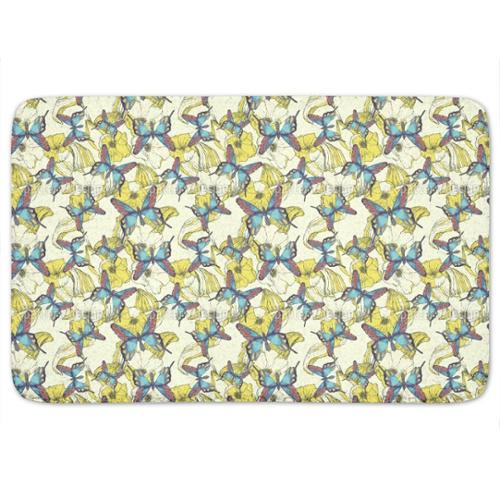 Uneekee Ocean Of Flowers And Butterflies Bath Mat