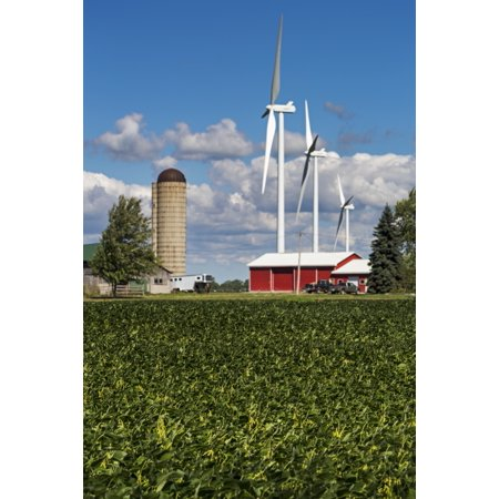 Large metal windmills in a farm yard with red barn and silo soy bean field in the foreground and blue sky and clouds in the background Ontario Canada Poster Print by Michael Interisano  Design Pics