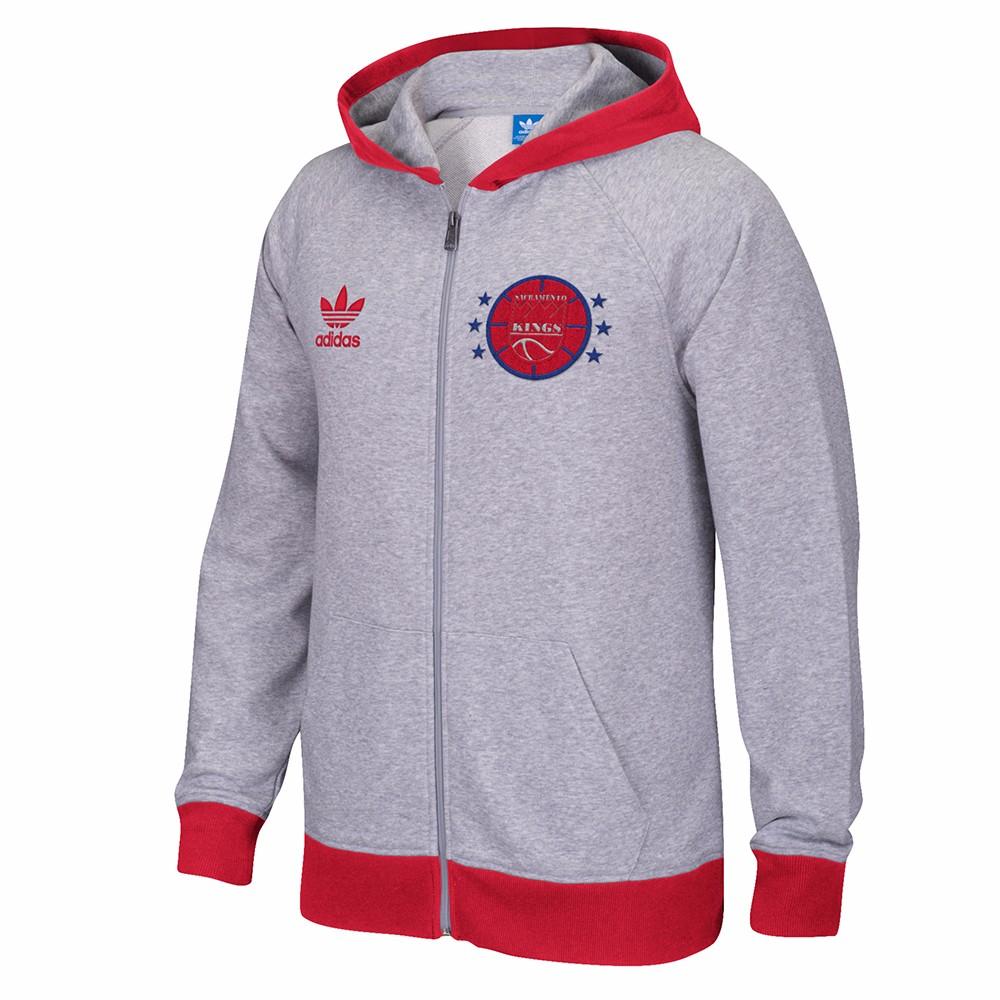 Sacramento Kings NBA Adidas Grey Adidas Originals Full Zip Team Classics Hoodie For Men