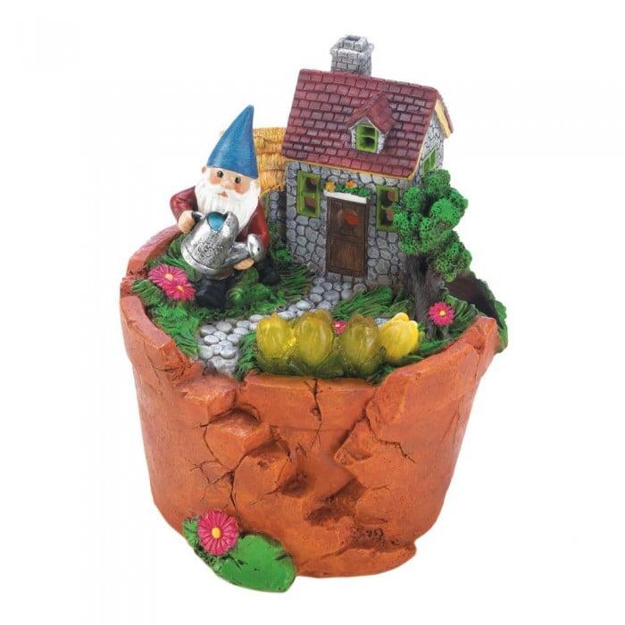 Garden Gnomes Statues, Solar Terra Cotta Pot Yard Outdoor Solar Garden Statues (Sold by Case, Pack of 6) by SUMMERFIELD TERRACE